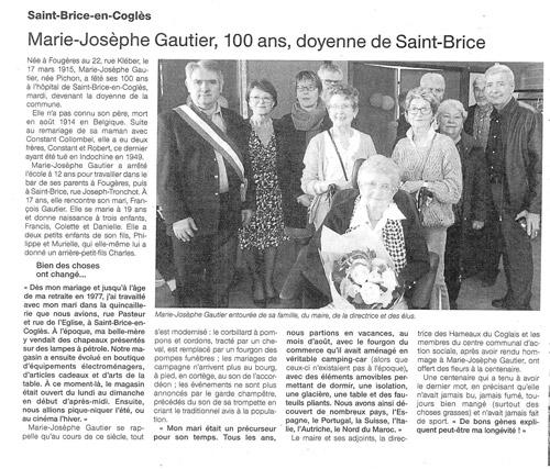Marie-Josèphe Gautier fête ses 100 ans