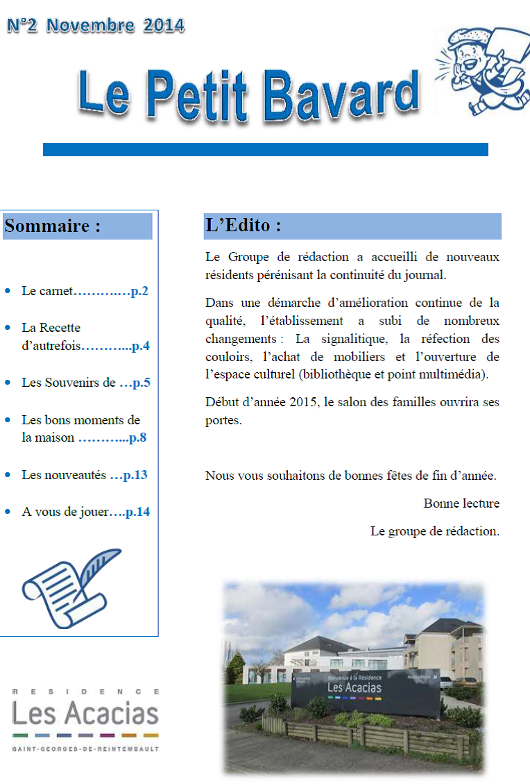 Le petit bavard novembre 2014 centre hospitalier des marches de bretagne - Le journal de bretagne ...